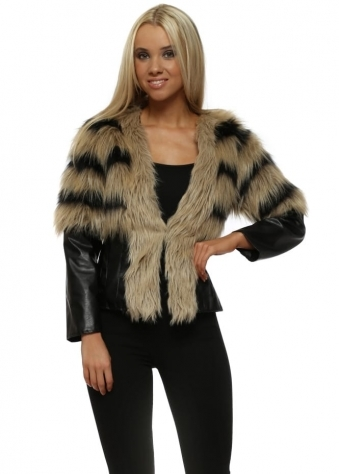 Faux Fur PVC Cropped Rambo Jacket