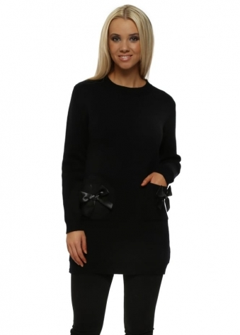 Black Satin Bow Pocket Jumper