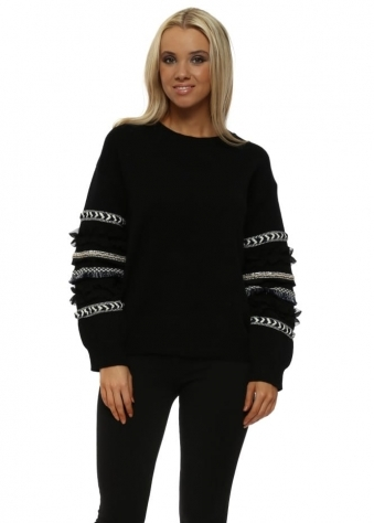 Black Aztec Ruffle Sleeve Jumper