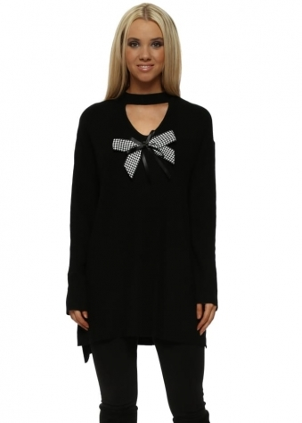 Black Dogtooth Bow Choker Jumper