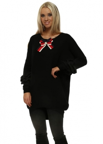 Black French Ribbon Bow Ruffle Sleeve Jumper