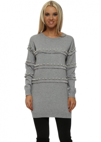 Grey Ruffle & Pearl Tunic Jumper