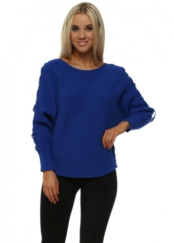 Cobalt Blue Ribbed Lace Up Sleeves Batwing Jumper