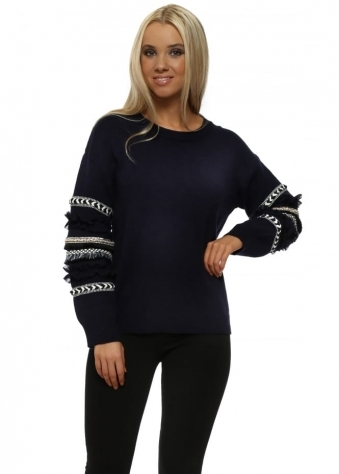 Navy Blue Aztec Ruffle Sleeve Jumper