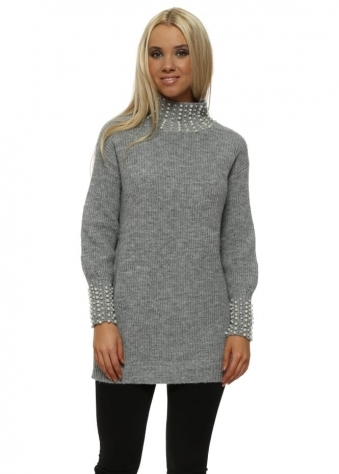 Grey Pearl Polo & Cuffs Jumper