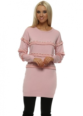 Baby Pink Ruffle & Pearl Tunic Jumper