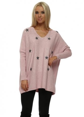 Pink Glitter Stars Baggy Jumper