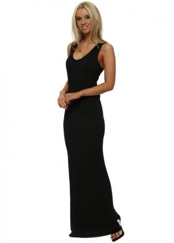 Nancy Black Jersey Sleeveless Maxi Dress