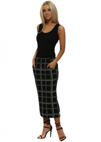 Chelsea Black Checkie Pencil Skirt