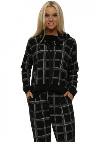 Cassie Checkie Black Funnel Neck Sweater