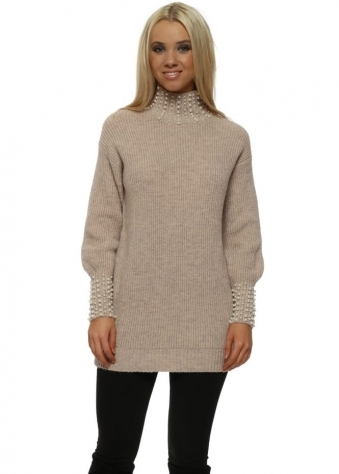 Nude Pink Pearl Polo & Cuffs Jumper