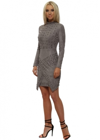 Grey Suedette Gunmetal Ball Embellished Bodycon Dress