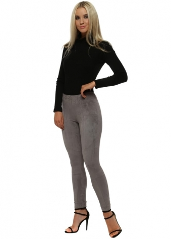 Grey Suedette Stretch Skinny Leggings