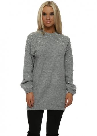 Grey Pearl Embellished Knitted Jumper