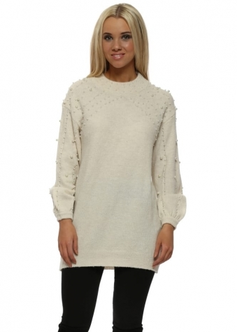Cream Pearl Embellished Knitted Jumper