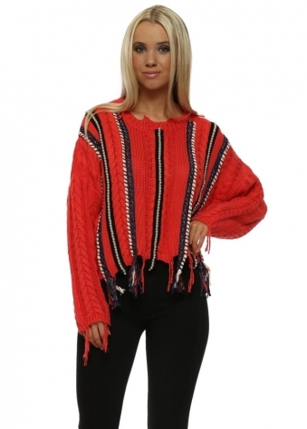 Orange Cable Knit Pearl & Plaited Jumper