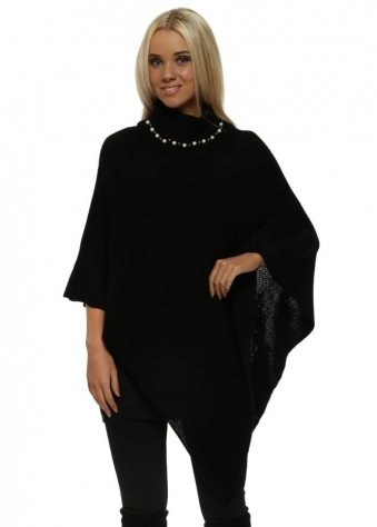 Black Pearl Embellished Polo Neck Poncho