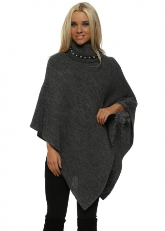 Dark Grey Pearl Embellished Polo Neck Poncho