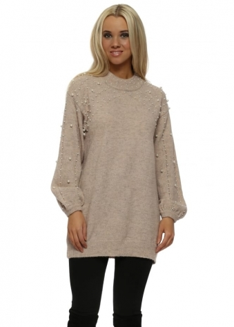 Nude Pink Pearl Embellished Knitted Jumper