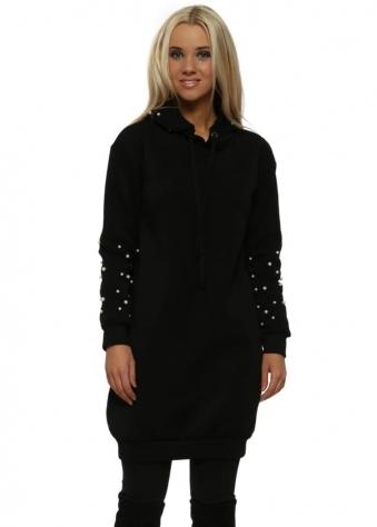 Black Pearl Embellished Long Hoodie
