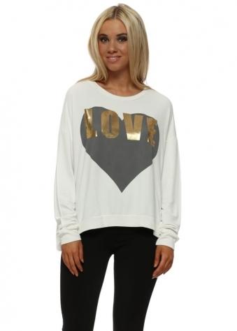 Vanilla Gold Foil Love Logo Sweater