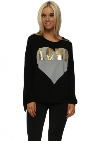 Black Gold Foil Love Logo Sweater