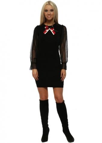 Black Pearl Bow Tulle Sleeves Jumper Dress