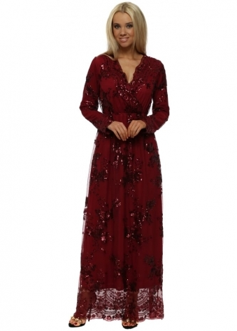 Burgundy Sequin Wrap Front Maxi Dress
