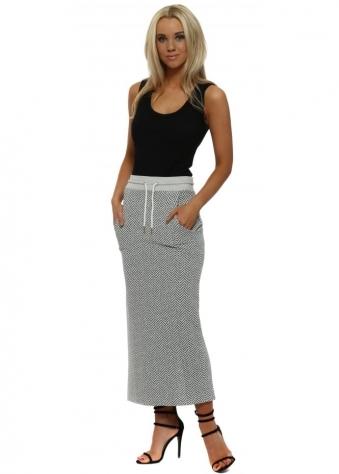 Hayley Vanilla Ice Herringbone Pencil Skirt