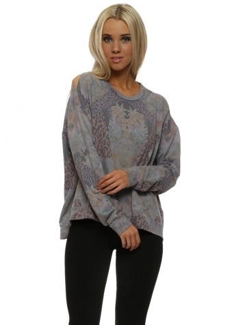 Patsy Patcha Dim Grey Shoulder Sweater