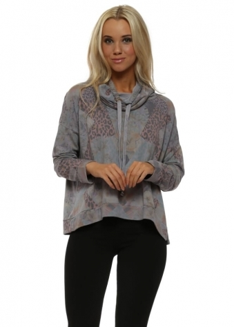 Penelope Patcha Dim Grey Funnel Neck Sweater