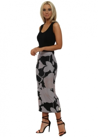 Bianca Dim Grey Blooming Lovely Pencil Skirt