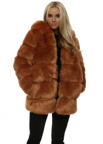 Rubens Chestnut Hooded Luxe Faux Fur Coat