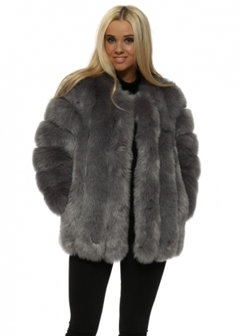 Renaissance Grey Luxe Faux Fur Coat