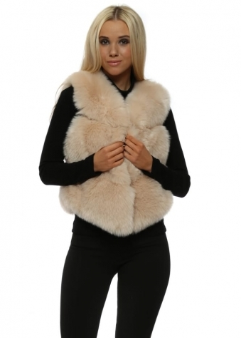 Hollywood Beige Luxe Tiered Faux Fur Gilet