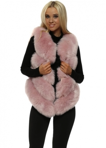 Bella Dusky Pink Luxe Tiered Faux Fur Gilet