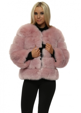 Dusk Short Tiered Faux Fur Coat In Dusky Pink
