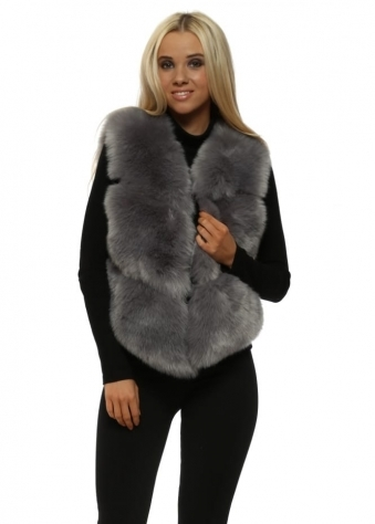 Hollywood Grey Luxe Tiered Faux Fur Gilet
