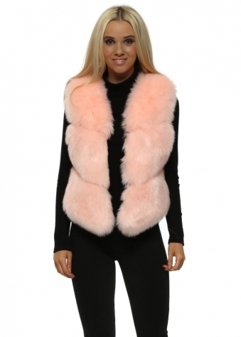 Hollywood Candy Pink Luxe Tiered Faux Fur Gilet