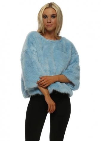 Luxury Baby Blue Faux Fur Short Jumper
