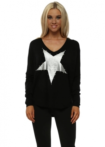 Black Silver Star Stud Fine Knit V-Neck Jumper