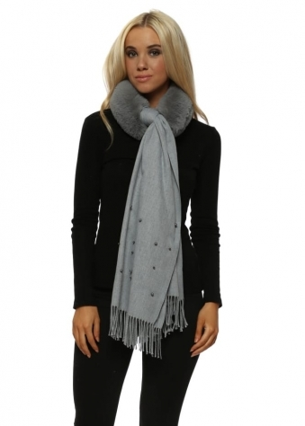 Grey Faux Fur Collar Wrapped Pearl Scarf