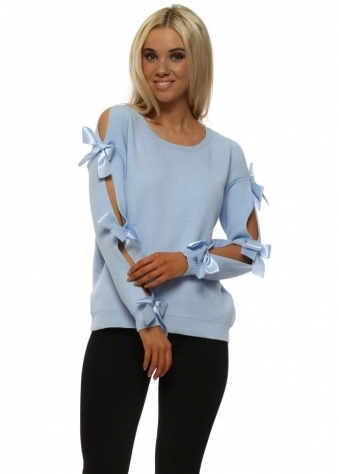 Baby Blue Ribbon Bow Sleeve Jumper
