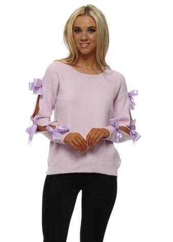 Lilac Ribbon Bow Sleeve Jumper