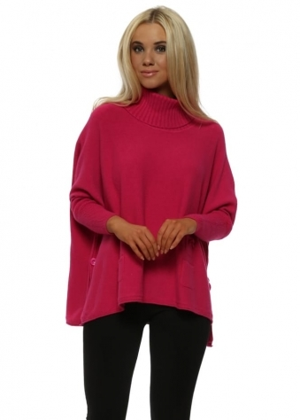 Hot Pink Small Pocket Roll Neck Oversized Jumper