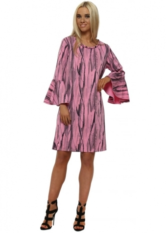 Urban Stripe Flute Sleeve Mini Dress In Passion
