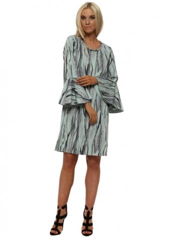 Urban Stripe Flute Sleeve Mini Dress In Silt