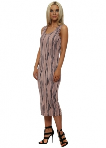 Venus Urban Stripe Pencil Dress In Tawny