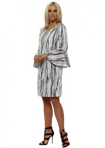 Urban Stripe Flute Sleeve Mini Dress In Vanilla