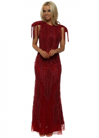 EXCLUSIVE Red Beaded Maxi Dress With Exaggerated Shoulders